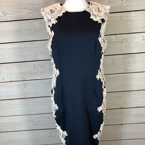 AX Paris Navy Blue Dress with Lace Detail